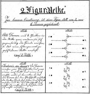 """Auszug aus dem """"Blumentanz"""" (Blumen Quadrille, Fig. 2) in Handschrift des Choreografen Eduard Reisinger, Wien 1885"""